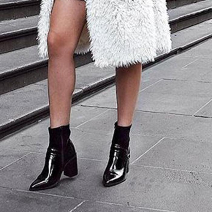 Women's Fashion Solid Color Buckle Decorative Pointed Boots