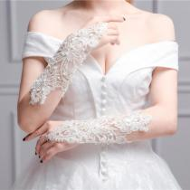 Women Fingerless Bridal Gloves Elegant Short Paragraph Rhinestone White Lace Glove Wedding Accessories Elegant Beaded Lace Satin