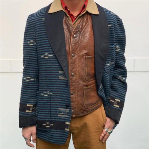 Men's Lapel Printed Woolen Jacket
