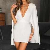 V-Neck Large Flared Sleeve Mini   Dress