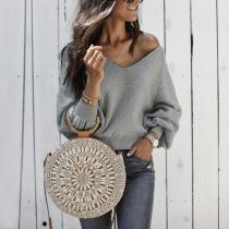 V Neck Plain Long Sleeve Knitting Sweaters