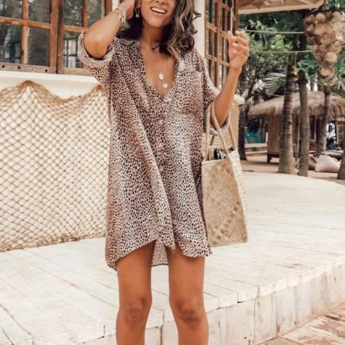 Loose 3/4 Sleeve Beach Shirt Mini Dress
