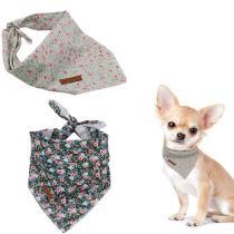 2 Pcs Unique Style Paws Dog Cat Bandana Dog Accesseries Pet Product Gift for Dog Bandage Bandana Collar Flower Green