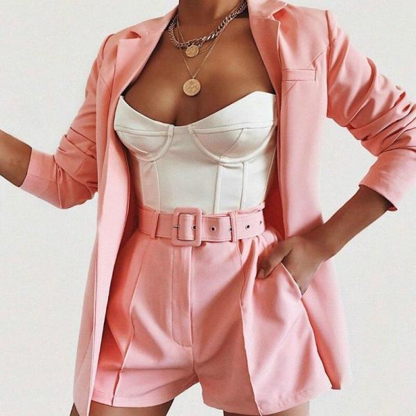 Women Suit Two Piece Blazers Suit Pink Yellow Orange Streetwear Jacket Shorts Set Women's 2 Piece Sets Casual Suits with Belt
