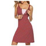 Summer Dresses for Pregnant women Maternity Nursing dress V-Neck Striped Breastfeeding Summer Sleeveless Maternity Vest Dress