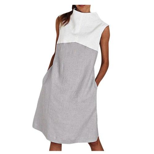 Womens Holiday O NeckSolid Dress Ladies Summer Beach Party Dress Patchwork Sleeveless Elegant Casual Knee-Length Dress