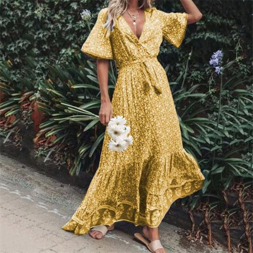 Fashion V Collar Printed Big Pendulum Dress