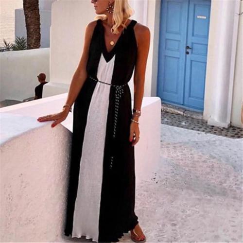Sexy V-Neck Sling Colorblock Casual Maxi Dress