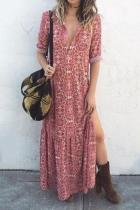 Sexy V Neck Floral Printed Side Split Vacation Maxi Dress