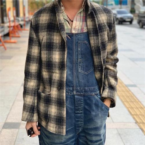 Men's Plaid Printed Wool Jacket