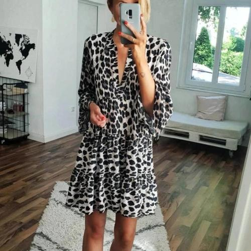 Vintage Leopard Printed V-Neck Long Sleeve Loose Mini Dress