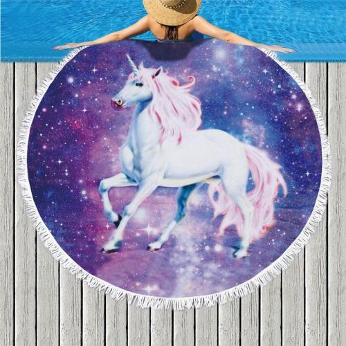 Microfine Real Unicorn Printed Beach Towels for Adults Non Cartoon Women 150cm Round Bath Towel Picnic Mat Hamam Blanket