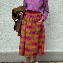Fashion Print Patch Pocket Skirt RY58