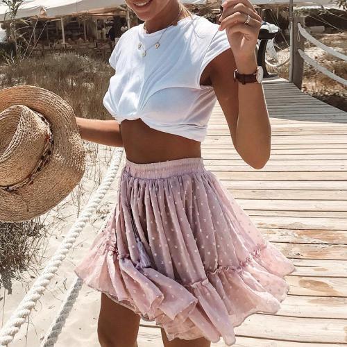 Polka Dot Elegant Ruffle Floral Print Pink Skirt Women 2020 Summer Beach Skirt Women Sexy A Line High Waist Pleated Mini Skirt