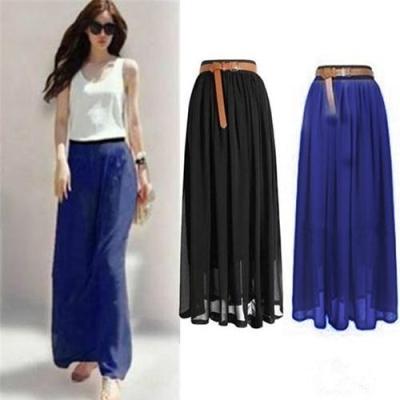 Women Double Layer Chiffon Pleated Retro Long Maxi  Elastic Waist Skirt