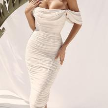 Solid Color Mesh One-Shoulder Chest Pleated Dress