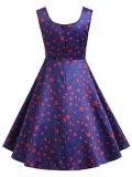 1950s Little Stars Sweetheart Neck Dress