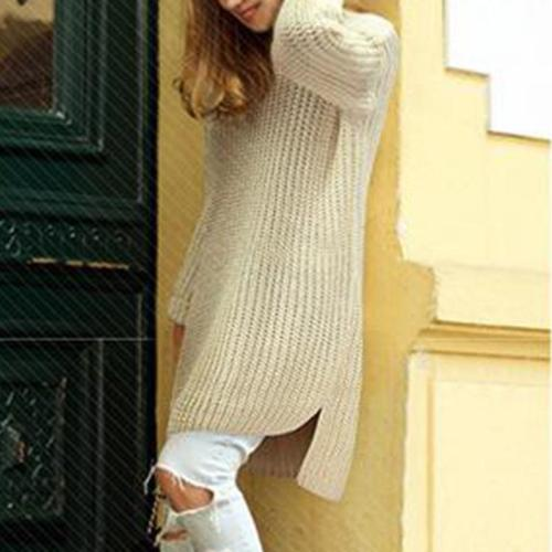 Medium Long Pullover Loose Solid Color Sweater