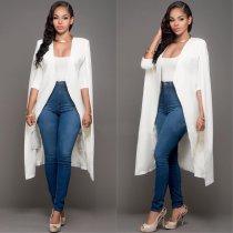 Deep V-neck Solid Color Women Cape Long Sleeves Blazer