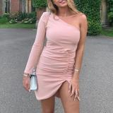 Solid Color One-shoulder Sexy Tight-fitting Pleated Slim Dress