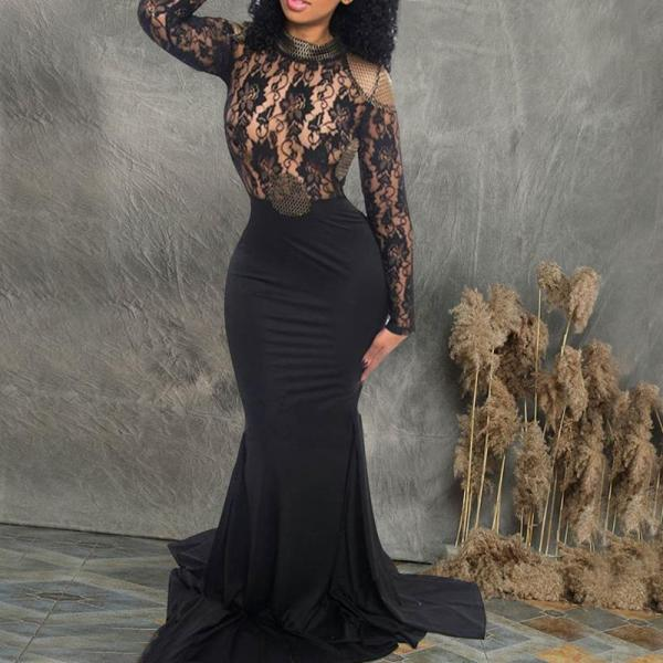 Sexy Lace Long Sleeve Backless Evening Dress