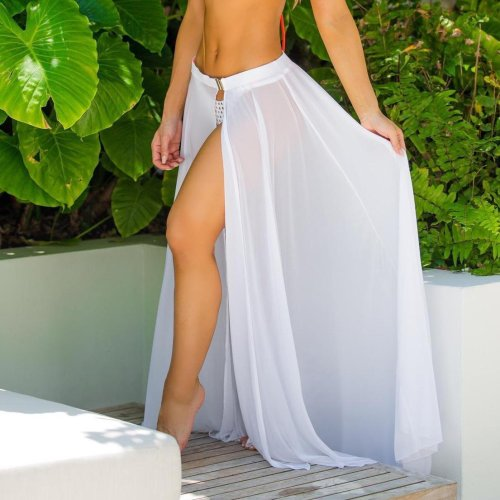 Pure Color Bohemia Vacation Beach Expansion Skirt