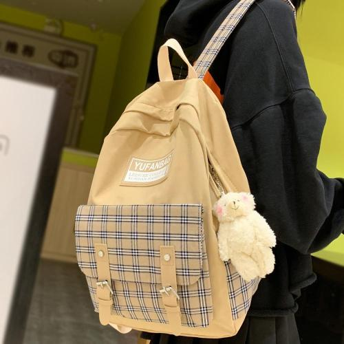 Student Girl Canvas Backpack Cute Women Plaid School Bag Laptop Ladies Kawaii Backpack Harajuku Female Book Fashion Bag New 2020