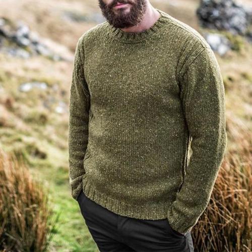 Mens Solid Color Woollen Casual Sweater