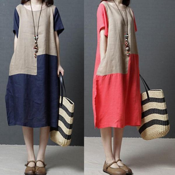 Women's Fashion Comfortable Contrast Color Pure Linen Dress
