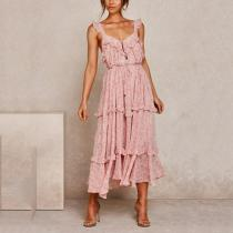 sleeveless floral print maxi dress
