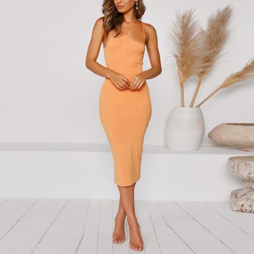 Solid Color Slim Fit Midi Dress