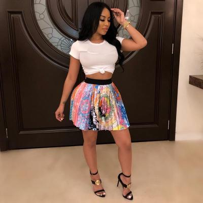 2020 women new summer vintage cartoon letter print high waist above knee mini pleated skirts retro fashion skirt outfit Z022