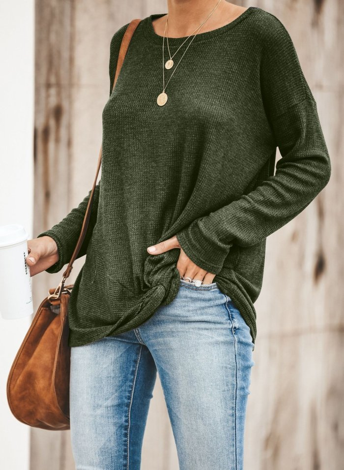 Solid Knotted Knitted Top