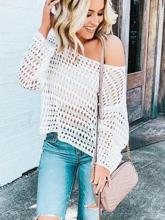White Long Sleeve Hollow Blouses&Shirts Tops