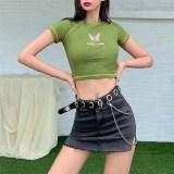 Y2K O-neck Short Sleeve Crop Tops