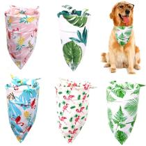 Pet Accessories Dog Bandana Flamingo & Leaf Printed Pet Dog Scarf Adjustable Personalized Bibs for Dog Cat