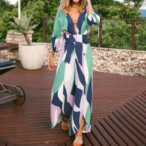 EBUYTIDE Fashion V-Neck Long Sleeve Printed Loose Jumpsuit
