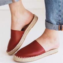 Women Closed Toe Flat Heel Artificial Leather Slip-on Slippers