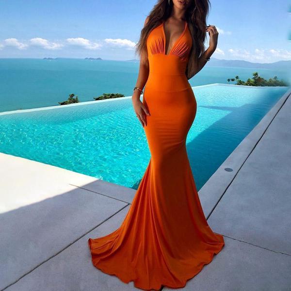 Sexy Sling Deep V Evening Dress