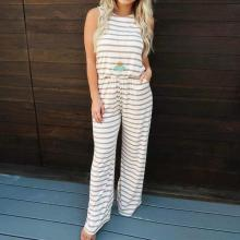 EBUYTIDE Striped Round Neck Sleeveless Fitted Jumpsuit