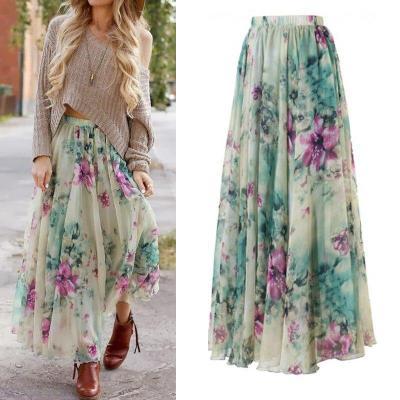 Floral Print Skirt Empire New Chiffon BOHO Ladies Tulle Skirt Womens Jersey Gypsy Maxi Full Long Skirt Summer