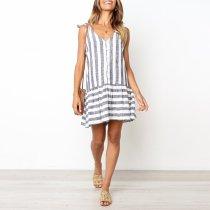Fashion Stripe Sleeveless Casual   Single Breasted Dress