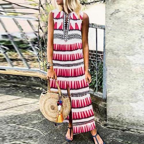 Sweet V Neck Printed Colour Sleeveless Elastic Dress