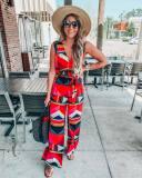 EBUYTIDE Ladies Print Sleeveless V-Neck Wide Leg Jumpsuit