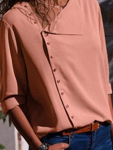 Chic Irregular Diagonal Collar Button Long Sleeve Blouse