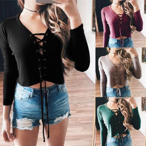 Pure Color Stretchy Ribbed-Knit Lace Up Blouse
