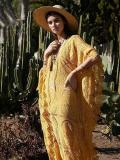 Lacy Split-joint V-neck Maxi Cover-up Dress
