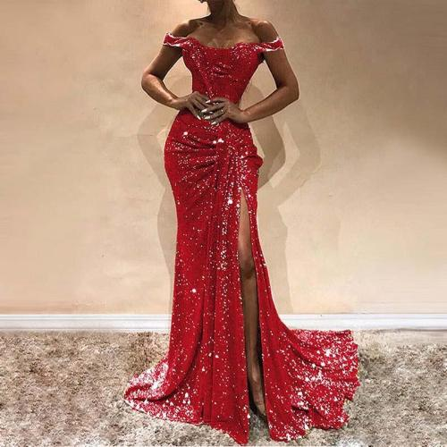 Sexy Word Shoulder Smocked Splicing Evening Dress