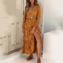 Fashion Floral Print Long Sleeve Maxi Dress