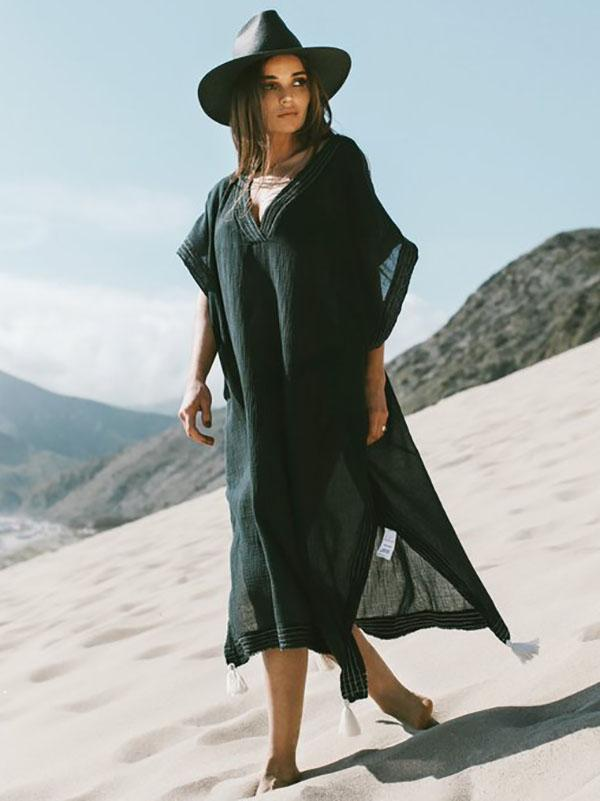 Soft Black V-neck Split-side Beach Long Dress Cover-up